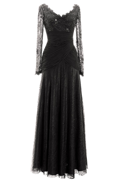 MACloth Women Long Sleeve V Neck Bead Mother of Bride Formal Dress Evening Gown