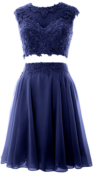 MACloth Women Vintage 2 Piece Prom Homecoming Dress Lace Wedding Party Gown