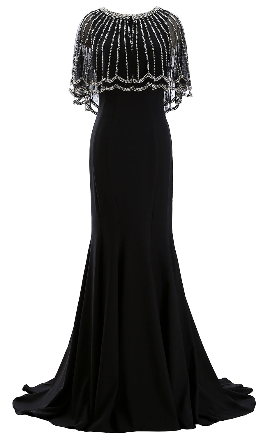 MACloth Women Beaded Mother of the Bride Dress with Sheer Cape Evening Gown