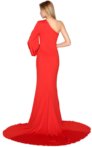 MACloth Mermaid Prom Dresses One Shoulder Long Sleeves Jersey Formal Evening Gown