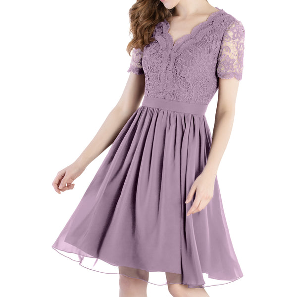 MACloth Mother of Bride Dresses Short Sleeves Wedding Guest Party Formal Gown Dusty Mauve