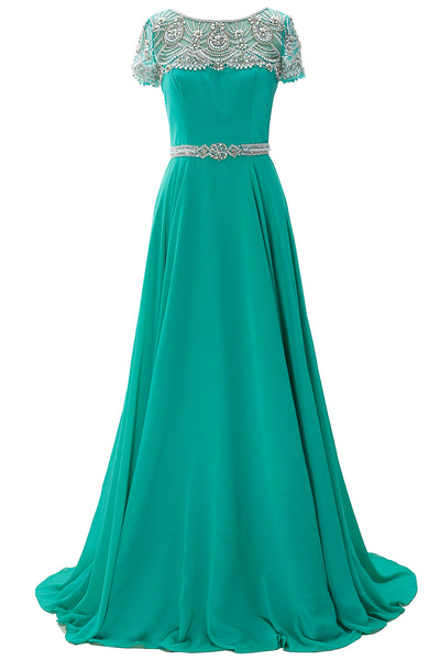 MACloth Women Short Sleeves Formal Evening Gown Boat Neck Beaded Long Prom Dress