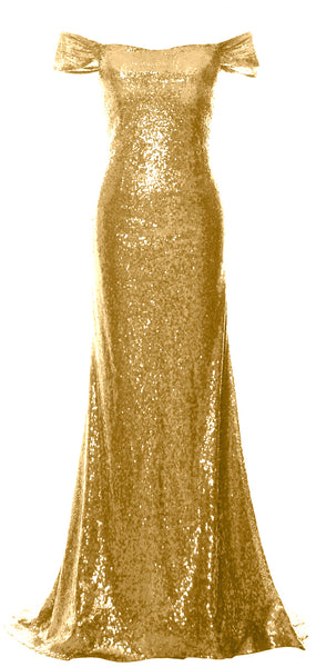 MACloth Women Off the Shoulder Prom Gown Mermaid Sequin Long Formal Evening Gown