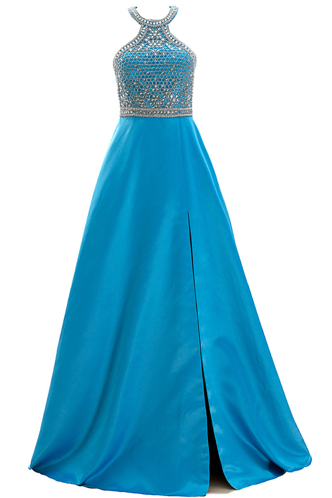 MACloth Women Halter Beaded Satin Formal Evening Gown Long Prom Dress with Slit