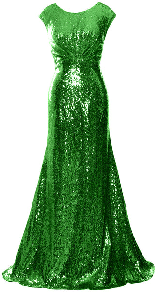 MACloth Women Mother of Bride Dresses Cap Sleeves Sequin Bridesmaid Formal Gown