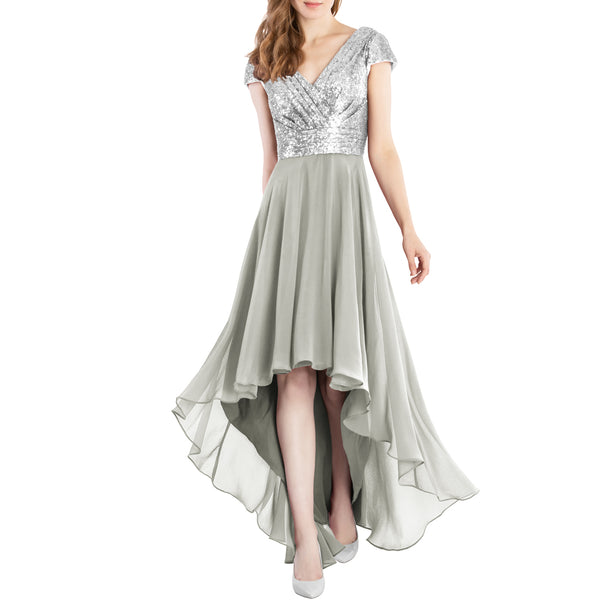 MACloth Mother of Bride Dresses Cap Sleeves High Low Sequin Wedding Formal Gown