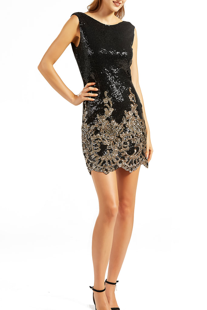 MACloth Women Short Black Sequin Gold Floral Wedding Party Cocktail Dresses