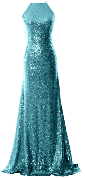 MACloth Women Bridesmaid Dress Sequin Long Halter Cowlback Prom Ball Gown