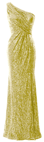 MACloth Sequin Prom Dresses with Split Mermaid One Shoulder Formal Evening Gown