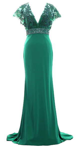 MACloth Women Cap Sleeve V Neck Evening Gown Sheath Beaded Mother of Bride Dress