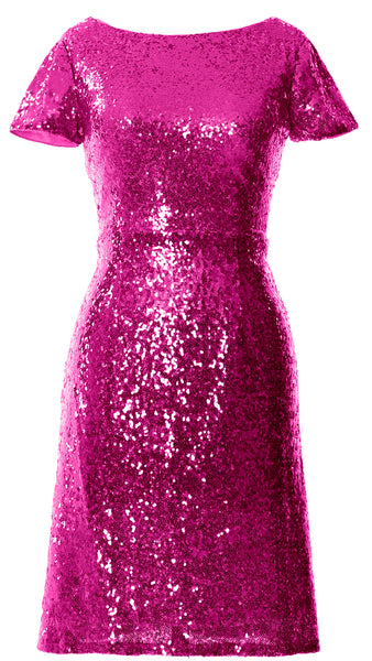 MACloth Women Short Sleeves Knee length Sequin Bridesmad Cocktail Dresses
