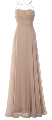 MACloth Women Halter Long Bridesmaid Dress Chiffom Simple Prom Formal Gown