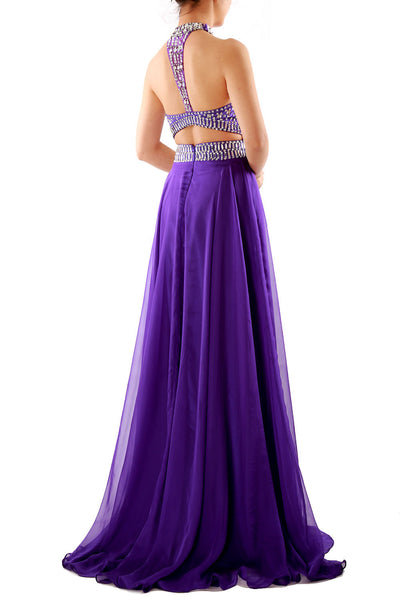 MACloth Women Halter High Neck Sleeveless Long Prom Party Dress Evening Gown