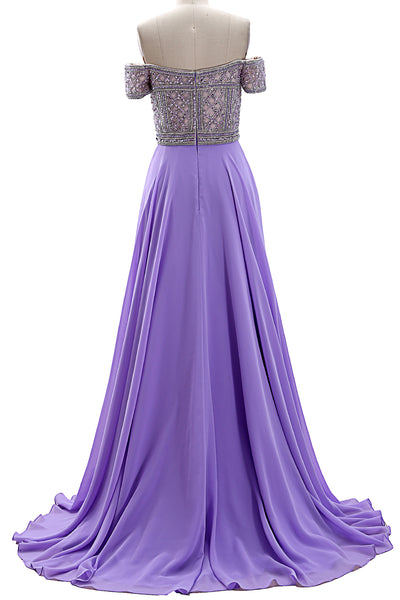 MACloth Women Off the Shoulder Beaded Long Prom Dress Short Sleeve Evening Gown