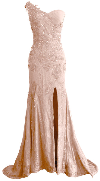 MACloth Women Prom Dresses Mermaid One Shoulder Long Lace Maxi Wedding Gown Long