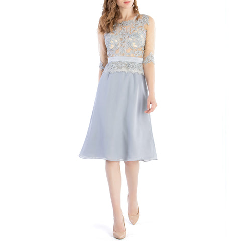 MACloth Women O Neck Beaded Lace Short Half Sleeves Mother of the Bride Dresses Wedding Bridal Party