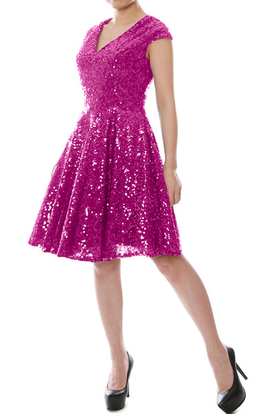 MACloth Women Cap Sleeve Party Formal Gown V Neck Sequin Short Bridesmaid Dress