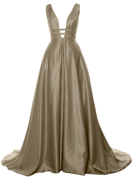 MACloth Women's Deep V Neck Prom Gown Satin Sleeveless Formal Evening Dresses