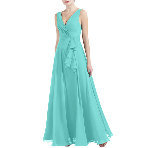MACloth Women V Neck Long Pleated A Line Wedding Party Bridesmaid Dresses Slit