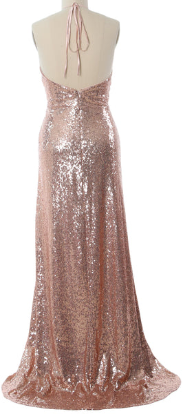MACloth Women Halter Long Sequin Bridesmaid Dresses Party Evening Gown Maxi