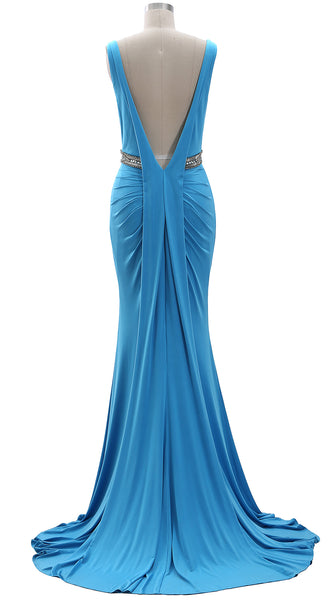 MACloth Women Straps V Neck Jersey Formal Evening Gown Beaded Long Prom Dress