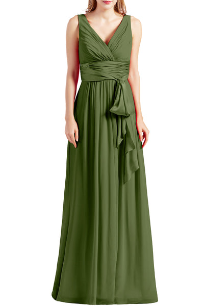 MACloth Women Sleeveless V Neck Long Bridesmaid Dress Chiffon Prom Evening Gown