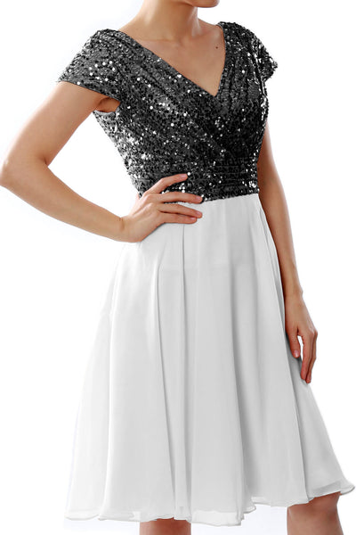 MACloth Women Short Mother of Bride Dresses Cap Sleeves Bridesmaid Sequin