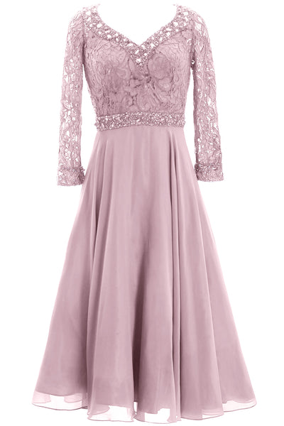 MACloth Women 3/4 Sleeve Lace Wedding Tea Length Mother of Bride Dresses Midi