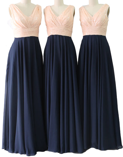 MACloth Women Sleeveless Long Bridesmaid Dresses V Neck Sequin Evening Gown