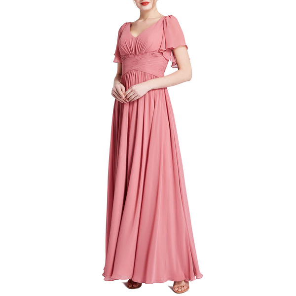 MACloth Women Short Sleeve V Neck Romantic Wedding Party Bridesmaid Dresses