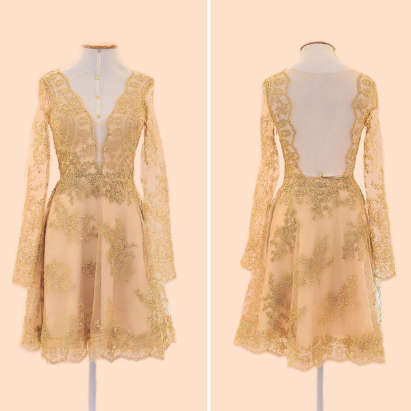 MACloth Long Sleeves V Neck Lace Cocktail Dress Gold Formal Gown