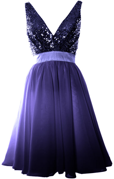 MACloth Short Bridesmaid Dresses Plunge V Neck Sequin Cocktail Party Formal Gown