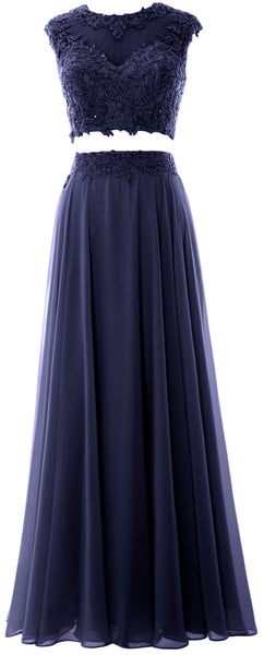 MACloth Women 2 Piece Long Prom Dress Lace Chiffon Formal Party Evening Gown