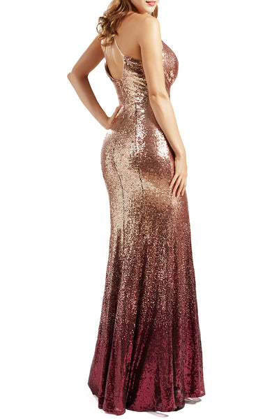 MACloth Mermaid Prom Dresses Ombre Gold Burgundy Long Wedding Party Evening Gown