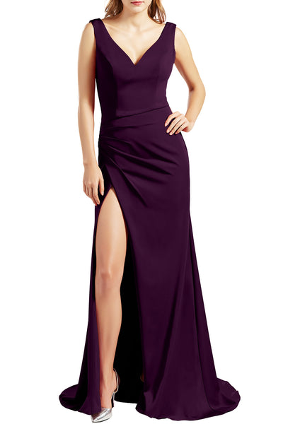 MACloth Women Sleeveless V Neck Split Formal Evening Gown Pageant Prom Dresses