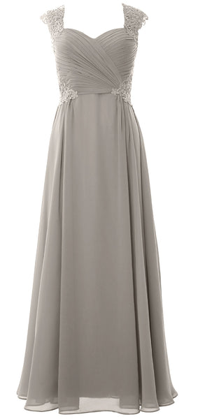 MACloth Women Long Maxi Bridesmaid Dresses Cap Sleeve Lace Evening Gown