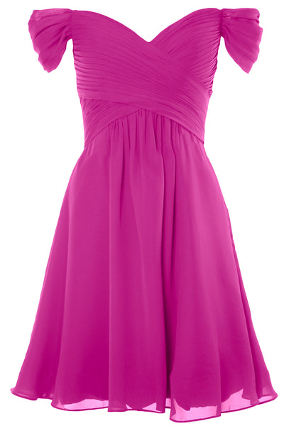 MACloth Women Off Shoulder Short Bridesmaid Dress Wedding Party Formal Gown