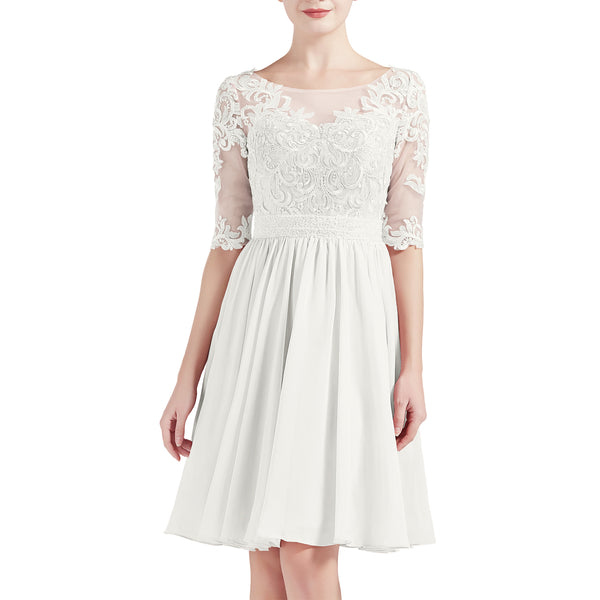 MACloth Women Half Sleeves Short Lace Beading Boat Neckline Mother of Bride Dresses Wedding Bridal Party