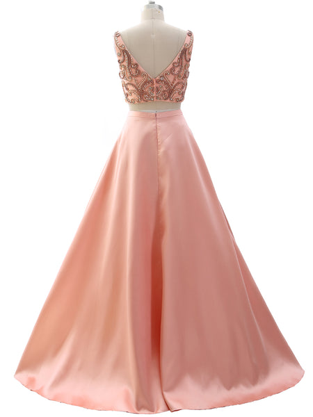 MACloth Women Two Piece V Neck Beaded Prom Dress Crop Top Formal Evening Gown