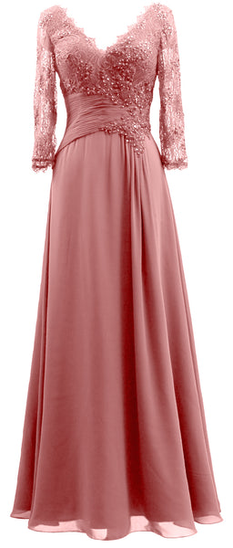 MACloth Women V Neck Long Mother of Bride Dresses 3/4 Sleeve Formal Evening Gown
