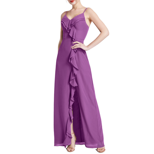MACloth Women V Neck Ruffle Chiffon Long Wedding Party Bridesmaid Dresses Slit