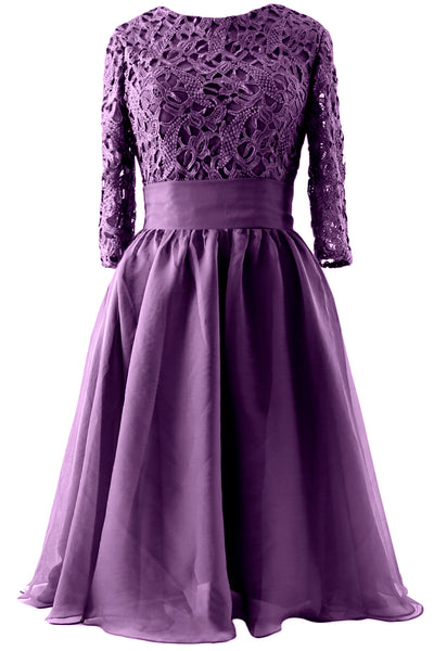 MACloth Women 3/4 Sleeve Lace Short Mother of Bride Dress Formal Evening Gown