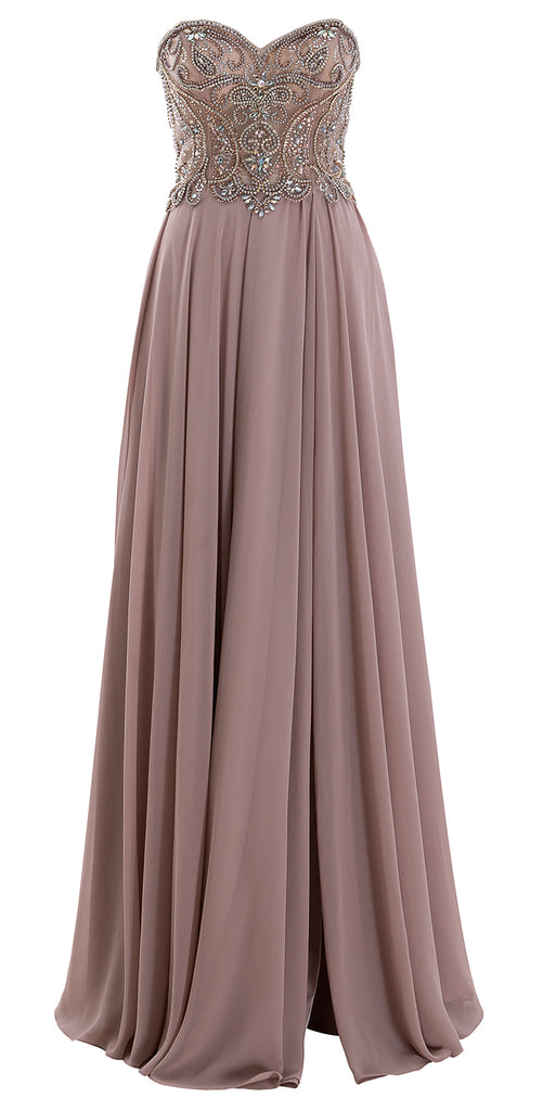 MACloth Women Strapless Beaded Chiffon Formal Evening Gown 2019 Long Prom Dress
