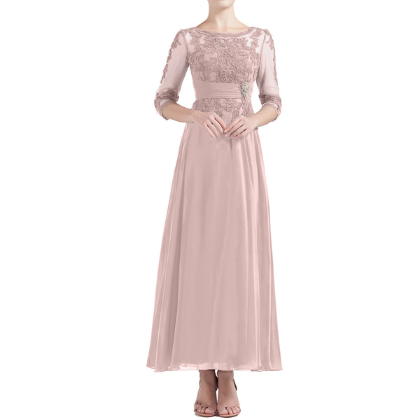 MACloth Women Tea Length 3/4 Sleeve Boat Neck Mother Bride Dresses Bridal Party