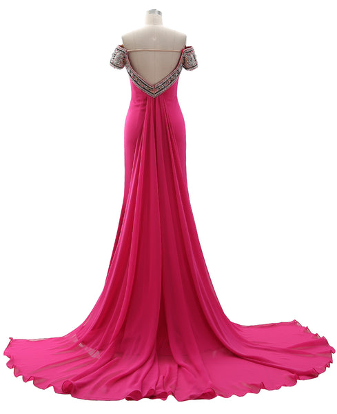 MACloth Women Off the Shoulder Beaded Prom Dress Sheath Formal Evening Gown