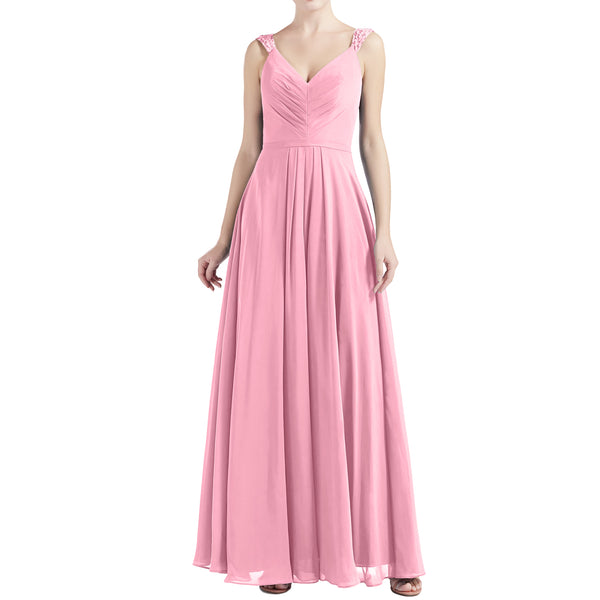 MACloth Women V Neck Lace Chiffon A Line Maxi Wedding Party Bridesmaid Dresses