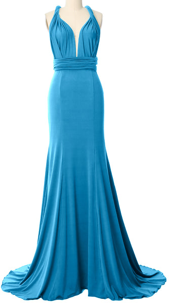 MACloth Convertible Wrap Multi Way Bridesmaid Dress Maxi Evening Formal Gown