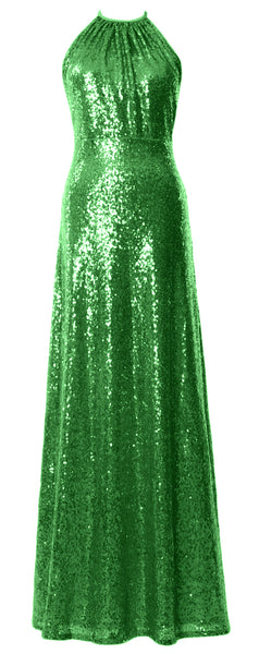 MACloth Women Halter Sequin Long Bridesmaid Dresses Wedding Party Formal Gown