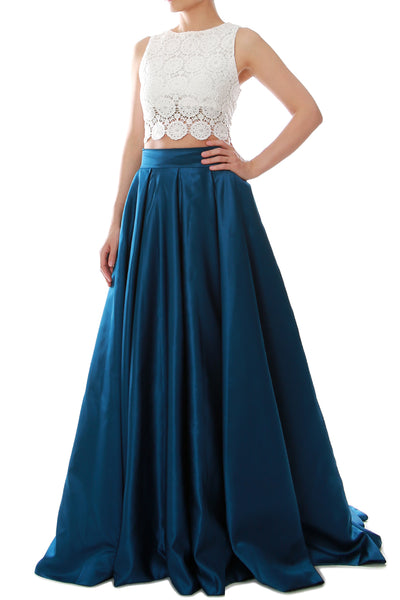 MACloth Women Two Piece O Neck Lace Long Prom Homecoming Dress Evening Ball Gown