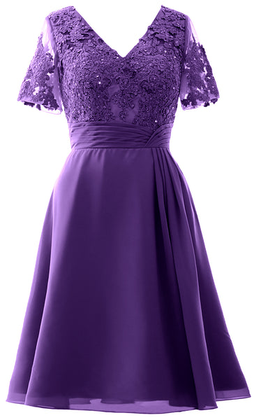 MACloth Women Knee Length Mother of Bride Dresses Short Sleeves Wedding